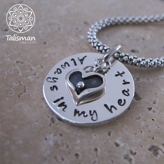 Always in My Heart Hand-Stamped Necklace