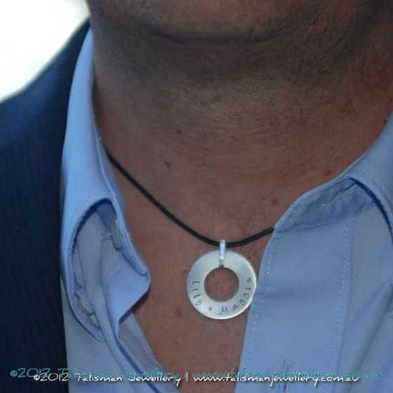 Heavy Circle Pendant Necklace for Him