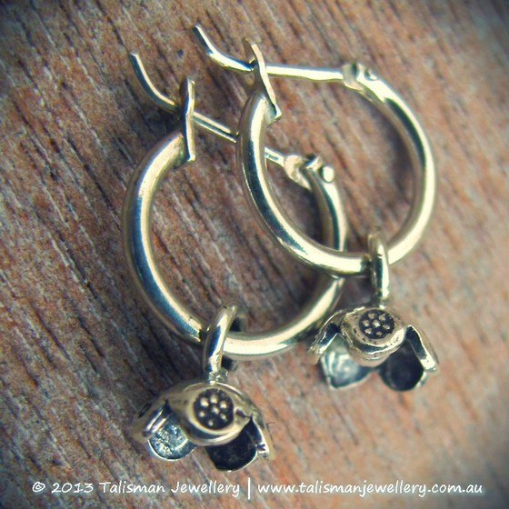 Tiny Silver Lotus Buds on Mini Hoops