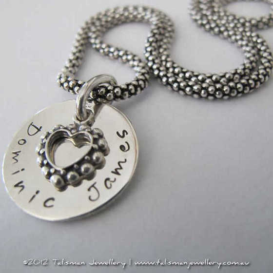 Open Heart Hand-Stamped Necklace