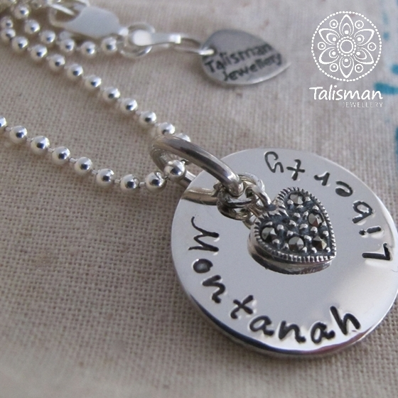 Hand-Stamped Round Pendant Necklace