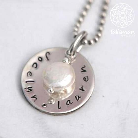 Hand stamped round pendant necklace hand stamped personalised hand stamped round pendant necklace mozeypictures Gallery