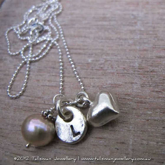 Sweet Initial Tag, Love Heart and Freshwater Pearl